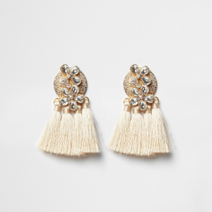 River Island Cream jewel tassel drop earrings €17